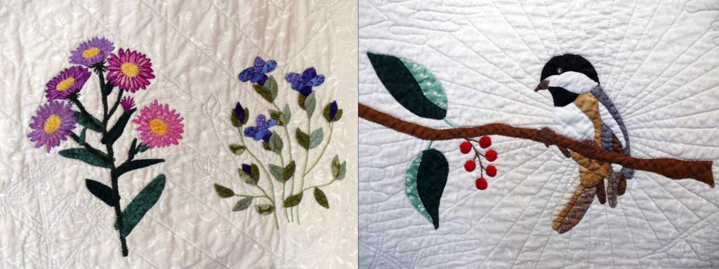 Quilt Detail - Flowers (left) and Chickadee